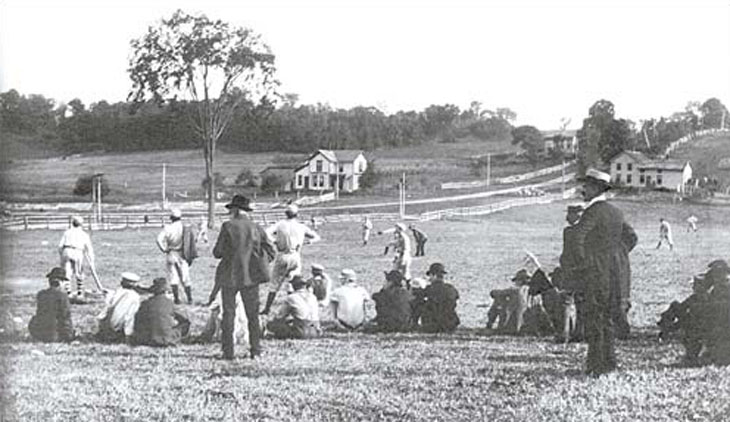 Baseball history photo: Baseball game at Saratoga Springs, New York circa 1880.  Click photo to return to previous page.