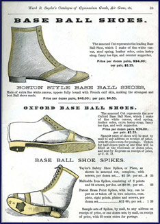 Snyder's Base Ball Shoes, 1875. Click to enlarge.