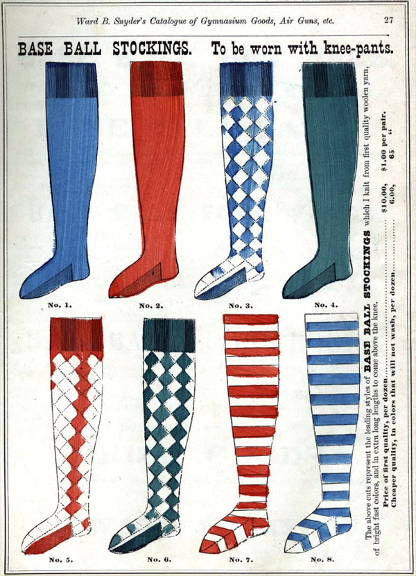 Baseball history photo: Assortment of base ball stockings from Snyder's 1875 catalog. Click photo to return to previous page.