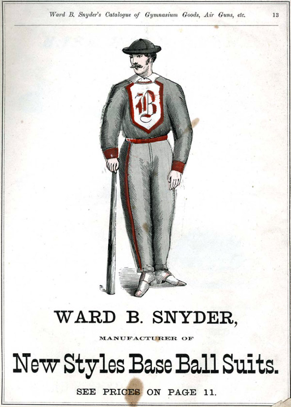 Baseball history photo: Assortment of base ball suits from Snyder's 1875 catalog. Click photo to return to previous page.
