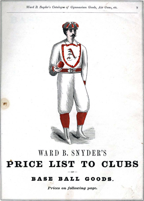 Baseball history photo: Assortment of base ball uniforms from Snyder's 1875 catalog. Click photo to return to previous page.