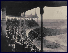 Photo taken on Opening Day of the Grand Pavilion of South End Grounds, Boston, May 25, 1888, by Augustine H. Folsom. Click to enlarge.
