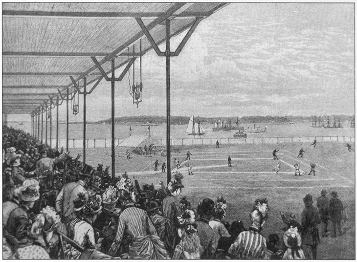 Baseball history illustration: The St. George Grounds, Staten Island, New York.  This field, although not as developed as the photo shows, in 1853 hosted a game between the Washington Club (later known as the Gotham Club) and the Knickerbocker Club.  The field was said to slope sharply from third base to left field and was a very short walk to the Staten Island Ferry dock.  The National League New York Giants were the last team to use the filed in the 19th century on June 14, 1889. Click photo to return to previous page.