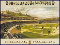 Illustration of 19th century baseball game at the New York Polo Grounds. Click to enlarge.