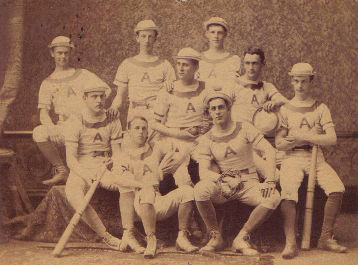 Baseball history photo: Unidentified college baseball team photo circa 1878. Click photo to return to previous page.